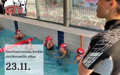 Uimakoulujen ilmoittautuminen alkaa 23.11.!